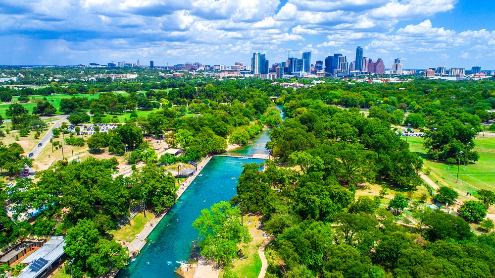 aerial shot barton springs pool