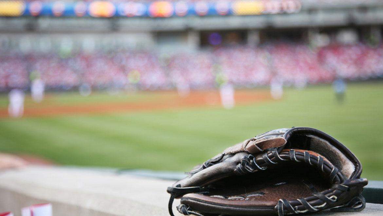 baseball glove at baseball stadium