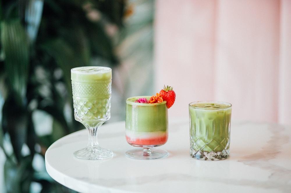 three matcha drinks