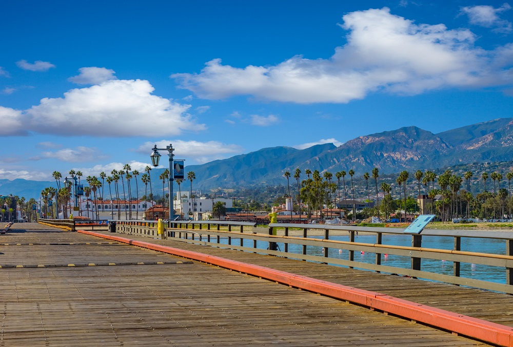 Stearns Wharf on the Santa Barbara shoreline in Southern California