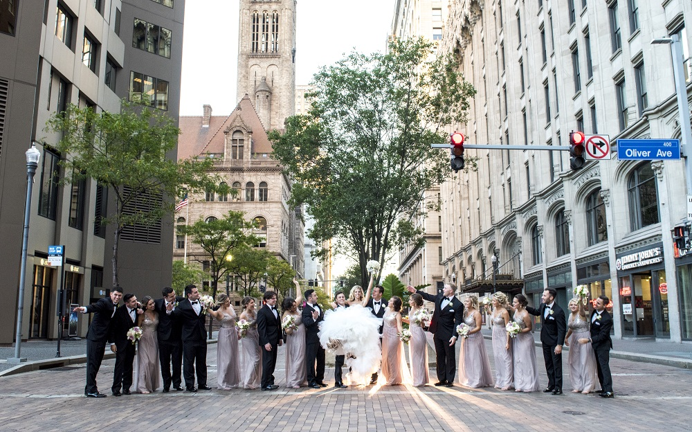 Wedding party outside on street