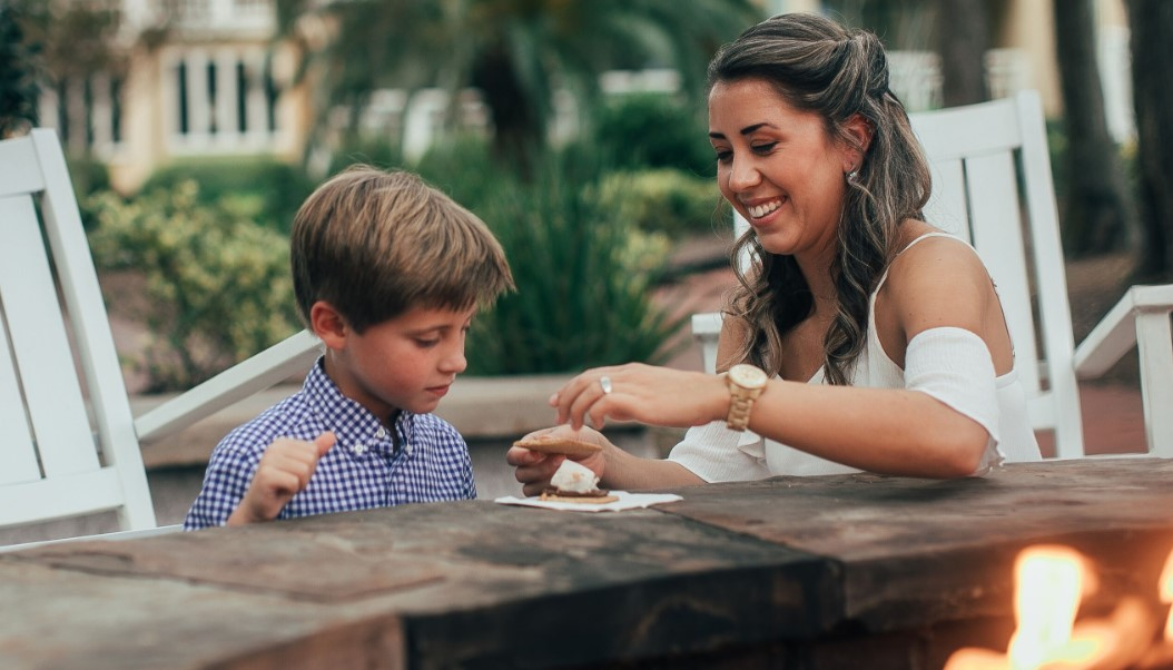 Mom and Son Enjoying S'mores