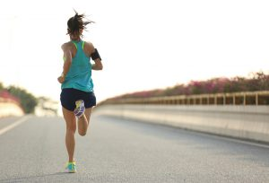 Woman running solo