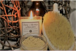 Spa candle and essentials